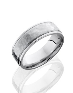 This stunning Cobalt Chrome men's wedding band is 7.5mm wide with a custom flat design and grooved edges. This ring contains two wide-set milgrain etches and is carefully hammered and polished to create lustrous texture.