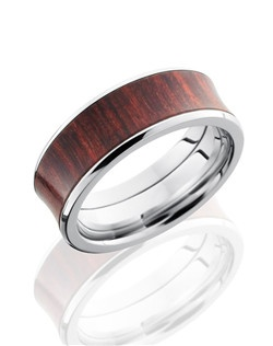 This unique Titanium men's wedding band is 8mm wide with a concaved bevel design. This ring contains one 6mm Cocobollo Hardwood inlay and is polished for a lustrous shine.