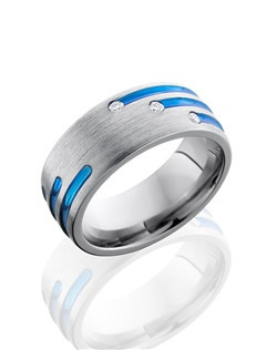 This modern Titanium men's wedding band is 8mm wide with a custom dome design. This ring is unique because of the three anodized blue staggered stripes that also include three flush set .03 Diamonds.