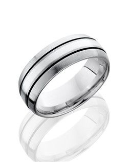 This sophisticated Titanium men's wedding band is 8mm wide with a custom dome design. This ring contains one 2mm Sterling Silver inlay with black antiqued grooves on both edges and the ring is given a satin polished finish.