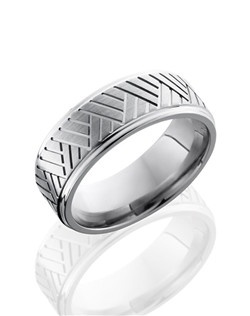 This modern Titanium men's wedding band is 8mm wide with a custom flat design. This ring contains grooved edges and a carved basket weave polished finish. This ring is the right touch of modern and classic.