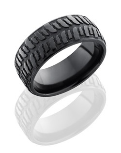 This remarkable Black Zirconium men's wedding band is 9mm wide with a custom dome design. This ring contains a bogger tire pattern etched into the zirconium and is then beadblasted for a matte finish.