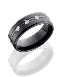 This stunning Black Zirconium men's wedding band is 8mm wide with a custom dome design with beveled grooves. This ring contains three flush set .05 Diamonds and is given a beadblast polish for a softer shine.