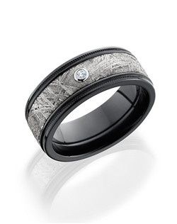 This stunningly masculine Black Zirconium men's wedding band is 8.5mm wide with a custom flat design. This ring contains our unique Gibeon Meteorite inlay and one bezel set pure Diamond.
