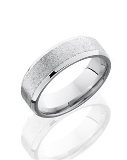 This sophisticated Cobalt Chrome men's wedding band is 7mm wide with custom beveled stone design and has polished edges for a lustrous shine.