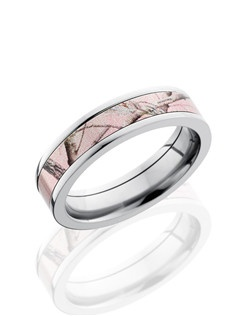 This unique Cobalt Chrome wedding band is 5mm wide with a custom flat design. This ring contains a 4mm pink Camo pattern inlay and is polished for a lustrous shine.