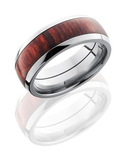 This unique Titanium men's wedding band is 8mm wide with a custom dome design and contains one 5mm Burgundy Rosewood inlay. This ring is the right touch of modern and classic design.