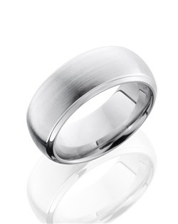 This classic Cobalt Chrome men's wedding band is 8mm wide with a custom dome design and is given a satin polish finish for a soft shine.