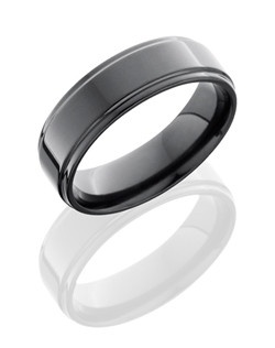 This sophisticated Black Zirconium men's wedding band is 7mm wide with custom flat design and has grooved edges. This ring is polished for a lustrous shine and is durable enough to last a lifetime.