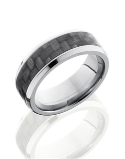 This remarkable Titanium men's wedding band is 8mm wide with a custom beveled design including a 5mm Carbon Fiber inlay and is polished to a lustrous shine. This modern design is both sophisticated and durable enough to last a lifetime.