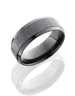 This modern Black Zirconium men's wedding band is 8mm wide with a custom beveled design. This ring is cross polished to create a black satin texture and soft shine.