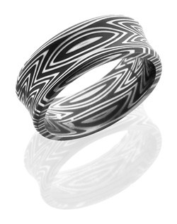 This stunning Damascus steel men's wedding band is 8mm wide with a custom concave beveled design. The Damascus steel is twisted to create a zebra pattern and this ring is given an acid wash to create a darker shine.