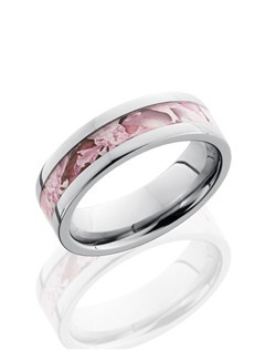 This unique Titanium wedding band is 6mm wide with a custom flat design. This ring contains a 3mm Kings Pink Camo pattern inlay.