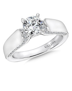 Round side stones perfectly embellish the center stone in this sophisticated design.  This  engagement ring is part of the Modern Collection. Side stones  Mounting with side stones .33 ct. tw., 3/4 ct. round center. 14k white gold. Price excludes center stone