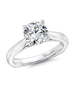 The brightly polished half round shank sets the perfect stage for the dazzling center diamond in this classic solitaire ring design. Solitaire mounting .01 tw., 1 1/2 ct. round center.Price excludes center stone
