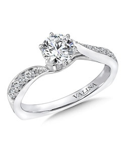 A diamond bypass design lights up the center stone. The polished profile adds a sleek touch to this classic ring. Mounting with side stones .15 ct. tw., 5/8 ct. round center.Price excludes center stone