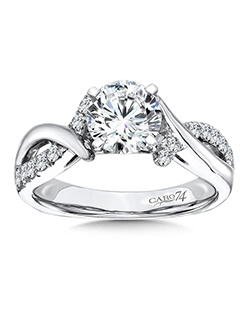 Elegant 14K White Gold CARO74 RING with platinum head.  Criss cross diamond and white gold designed band with round center stone . Also available in white gold, yellow gold, 18K and Platinum. Price excludes center stone