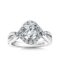 14K White Gold CARO 74 RING with platinum head.  Diamond surrounded center stone with modern criss cross band. Also available in white gold, yellow gold, 18K and Platinum. Price excludes center stone