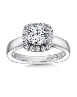 14K White Gold CARO 74 RING with platinum head. Classic white gold band with cushion shaped diamond halo surrounding a  stunning round diamond.  Round Also available in white gold, yellow gold, 18K and Platinum. Price excludes center stone