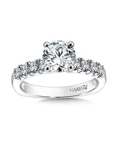 14K White Gold CARO 74 RING with platinum head.  Gorgeous round diamond accented with diamond side stones. Also available in white gold, yellow gold, 18K and Platinum. Price excludes center stone