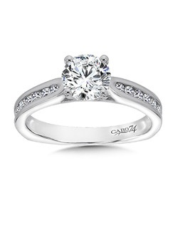 14K White Gold CARO 74 RING with platinum head. Classic diamond ring with channel set diamond side stones. Also available in white gold, yellow gold, 18K and Platinum. Price excludes center stone