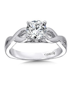 14K White Gold CARO 74 RING with platinum head.  A  criss cross 14k white gold band with a round diamond center stone. Also available in white gold, yellow gold, 18K and Platinum. Price excludes center stone