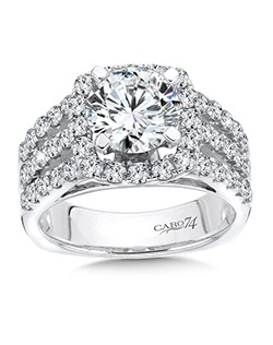 14K White Gold CARO 74 RING with platinum head.  Luxurous rows of diamonds meet in the center with a cushion shaped diamond halo and round center stone. Also available in white gold, yellow gold, 18K and Platinum. Price excludes center stone