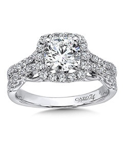 14K White Gold CARO 74 RING with platinum head.  Strands of diamond and 14k white gold interlock in this timeless diamond halo engagement ring. Also available in white gold, yellow gold, 18K and Platinum. Price excludes center stone