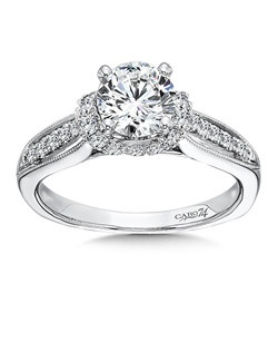 14K White Gold CARO 74 RING with platinum head. Diamond center stone is surrounded by diamonds with uniquely designed beaded detailing and diamond side stones .  Also available in white gold, yellow gold, 18K and Platinum. Price excludes center stone