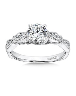 14K White Gold CARO 74 RING with platinum head. Vintage inspired engagement ring with diamond accents and elegant gold band.  Also available in white gold, yellow gold, 18K and Platinum.Price excludes center stone