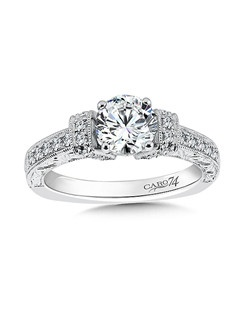 14K White Gold CARO 74 RING with platinum head.  Diamonds, milgrain detailing, and hand engraving set the stage for a beautiful diamond center stone.   Also available in white gold, yellow gold, 18K and Platinum. Price excludes center stone