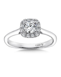14K White Gold CARO 74 RING with platinum head. Smooth 14k white gold band with cushion shaped diamond halo and round diamond centerstone.  Also available in white gold, yellow gold, 18K and Platinum. Price excludes center stone