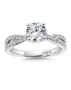 14K White Gold CARO 74 RING with platinum head. Bands of diamonds cross each other to anchor an elegant diamond center stone. Also available in white gold, yellow gold, 18K and Platinum. Price excludes center stone