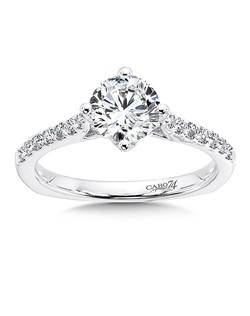 14K White Gold CARO 74 RING with platinum head. A band of diamonds frame the center stone in this classic chic design.  Also available in white gold, yellow gold, 18K and Platinum. Price excludes center stone