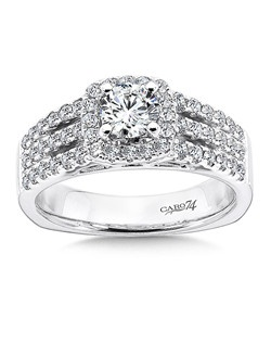 14K White Gold CARO 74 RING with platinum head. Center stone is framed by a cushion shape halo. Three separate diamond strands cascade down the finger for a dramatic effect. Also available in white gold, yellow gold, 18K and Platinum. Price excludes center stone