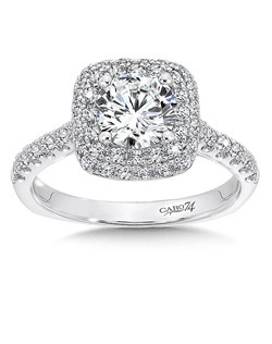 14K White Gold CARO 74 RING with platinum head. Double strand diamond halo decorates a grand diamond center stone.  A string of diamonds embellish the shoulders of this engagement ring.   Also available in white gold, yellow gold, 18K and Platinum. Price excludes center stone
