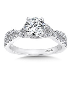 14K White Gold CARO 74 RING with platinum head.  Stands of diamond bands interlace on the sides of the ring and bring focus to a radiant center stone. Also available in white gold, yellow gold, 18K and Platinum. Price excludes center stone