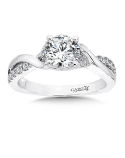 14K White Gold CARO 74 RING with platinum head. Threads of diamond bands and smooth 14k white gold weave together to being focus to a gleaming center stone. Also available in white gold, yellow gold, 18K and Platinum. Price excludes center stone