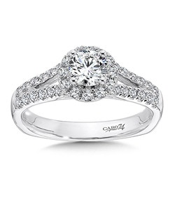 14K White Gold CARO 74 RING with platinum head. Diamond halo circles around a beautiful center stone.  Diamond decorated split shank  decorate the sides of this engagement ring.   Also available in white gold, yellow gold, 18K and Platinum. Price excludes center stone