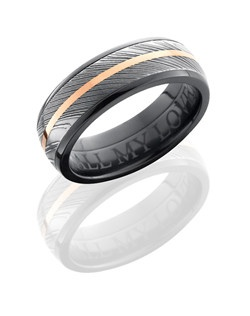 This intricate Black Zirconium men's wedding band is 7mm wide with a custom dome design. This ring includes one 5mm Damascus steel and one 1mm 14K Rose Gold double inlay. The ring is then given an acid wash and satin polish to create an impressive shine.