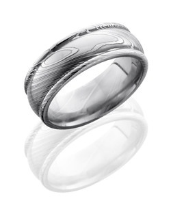 This sophisticated Damascus steel men's wedding band is 8mm wide with a custom dome and rounded edge design.  This ring is the perfect combination of unique and classic design.