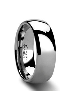 These classic Comfort Fit Tungsten Rings are made from high grade cobalt-free Tungsten Carbide.  This band is made in the traditional domed design and has a finely polished finish.  This ring can be worn as a Wedding Band or Promise Ring and is available in 2mm, 4mm, 6mm, 7mm, 8mm, 10mm and 12mm.  Larson Jewelers is proud to present our Tungsten Carbide Ring line.  Tungsten Carbide is the newest and strongest metal to be used in jewelry, ideal for men and women who are tired of rings that scratch easily. Truly Free Lifetime Sizing and Lifetime Warranty on all tungsten rings, no exchange|sizing fees, which are charged by our competitors.