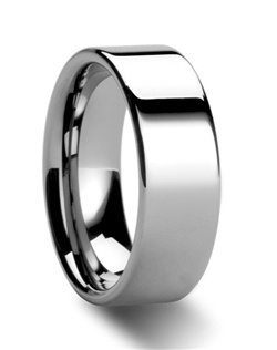 This wide Comfort Fit Tungsten Wedding Ring is made from high grade cobalt-free Tungsten Carbide. This Tungsten Ring is made in the traditional flat design and has a finely polished finish.  This ring can be worn as a Wedding Band or Promise Ring and is available in 4mm, 6mm, 7mm, 8mm, 10mm and 12mm.  Larson Jewelers is proud to present our Tungsten Carbide Ring line.  Tungsten Carbide is the newest and strongest metal to be used in jewelry, ideal for men and women who are tired of rings that scratch easily.  Truly Free Lifetime Sizing and Lifetime Warranty on all tungsten rings, no exchange|sizing fees, which are charged by our competitors.