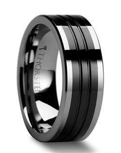 These classic Comfort Fit Black Tungsten Rings are made from high grade cobalt-free Tungsten Carbide.  The band is made in the traditional flat design and has a finely polished finish with two grooves in its black ceramic inlaid center.  This ring can be worn as a Wedding Band or Promise Ring and is available in 6 mm, 8 mm and 10 mm wide for couples who wish to have a matching set.  Larson Jewelers is proud to present our Tungsten Carbide and Ceramic Ring line.  Tungsten Carbide and Ceramic are the newest and strongest materials to be used in jewelry, ideal for men and women who are tired of rings that scratch easily. Truly Free Lifetime Sizing and Lifetime Warranty on all tungsten rings, no exchange|sizing fees, which are charged by our competitors.