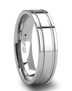 Dual offset grooves circle this style of Men's Tungsten Wedding Bands symbolizing the never ending love between you and your partner.  This tungsten wedding band takes the traditional pipe cut look and adds a unique style to it.  The permanently polished finish combines with the strength of tungsten carbide to create a perfect ring.  Truly Free Lifetime Sizing and Lifetime Warranty on all tungsten rings, no exchange|sizing fees, which are charged by other retailers.