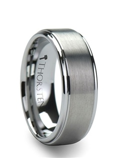 An all time favorite, this classic Tungsten Ring design has a smooth raised brush finished center and highly polished step down edges.  This comfort fit cobalt-free tungsten wedding ring is the perfect blend of strength and beauty.  This style is available in 6 mm, 8mm, and 10 mm wide for couples who want a matching set.  This ring is the perfect way to express the strength of your love.  Truly Free Lifetime Sizing and Lifetime Warranty on all tungsten rings, no exchange|sizing fees, which are charged by other retailers.