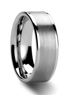 These classic flat style Tungsten Rings get a handsome make over with the addition of a wide brush finish in the center of the ring.  The polished edges create a noticeable contrast and to the brush finish.  For couples who would like a matching set, this ring style comes in 4 mm, 6 mm and 8 mm widths.  This is the perfect wedding ring to represent your love and marriage.   Truly Free Lifetime Sizing and Lifetime Warranty on all tungsten rings, no exchange|sizing fees, which our competitors charge.