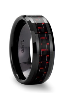This hard to find wedding band style has the look of Black Tungsten Rings but, is actually a unique high tech pairing of black and red carbon fiber inlaid into a black ceramic ring.  This comfort-fit band has beveled edges and is available in 6 mm, 8 mm, and 10 mm wide, for couples that need a matching set.  This is the perfect wedding band to represent your love and unique personality. Black Ceramic does not scratch or lose its color, like black tungsten does.   Truly Free Lifetime Sizing and Lifetime Warranty on all tungsten rings, no exchange|sizing fees, which are charged by our competitors.
