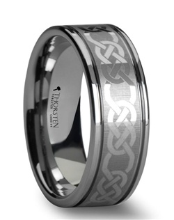 This premium 6 mm to 10 mm wide Comfort Fit Laser Engraved Tungsten Ring has an ancient Celtic pattern, which symbolizes never ending love.  This band design is flat with two off-set grooves.  This ring is the perfect representation of your unquantifiable love and devotion towards one another.  Multiple widths are available for couples who want a matching set.  Larson Jewelers is proud to present our designer Tungsten Carbide Ring line by Thorsten.  Tungsten Carbide is extremely scratch resistant and are a great choice for those who want jewelry to be both maintenance free and worry free.  Truly Free Lifetime Sizing and Lifetime Warranty on all tungsten rings, no exchange|sizing fees, which are charged by our competitors.