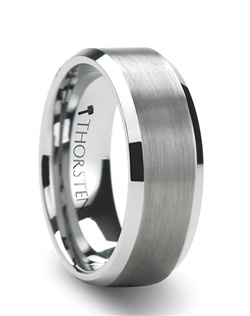 This selection of Comfort Fit Tungsten Wedding Bands is made from high grade cobalt-free Tungsten Carbide.  This style has a conservative design that is flat with beveled edges.  The center is brush finished, leaving only the beveled edges polished for a subtle amount of shine.  4 mm, 6 mm, 8 mm and 10 mm widths are available for couples who want a matching set.  Larson Jewelers is proud to present our Tungsten Carbide Ring line.  Tungsten Carbide is the newest and strongest metal to be used in jewelry, ideal for men and women who are tired of rings that scratch easily.  Truly Free Lifetime Sizing and Lifetime Warranty on all tungsten rings, no exchange|sizing fees, which are charged by our competitors.